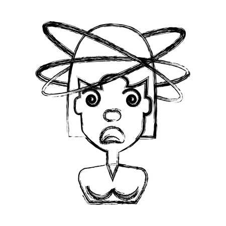 Diseño gráfico loco del ejemplo del vector del icono de la historieta de la mujer Foto de archivo - 83186327
