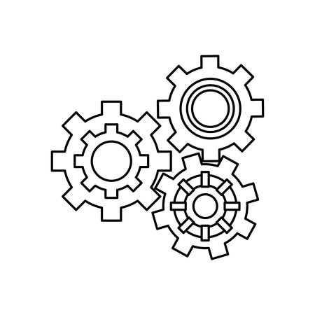 Gears machinery piece icon vector illustration graphic design Illustration