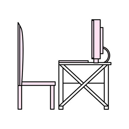 Desk computer technology icon vector illustration graphic design Illustration