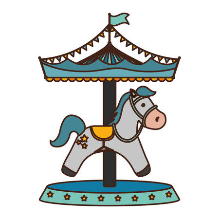 funy: Carrousel circus cartoon icon vector illustration graphic design