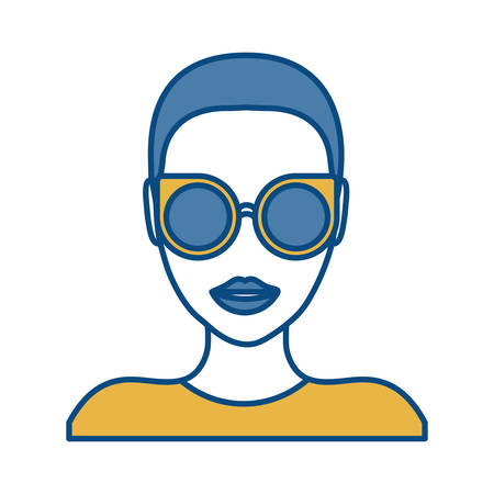 woman with sunglasses icon over white background colorful design vector illustration