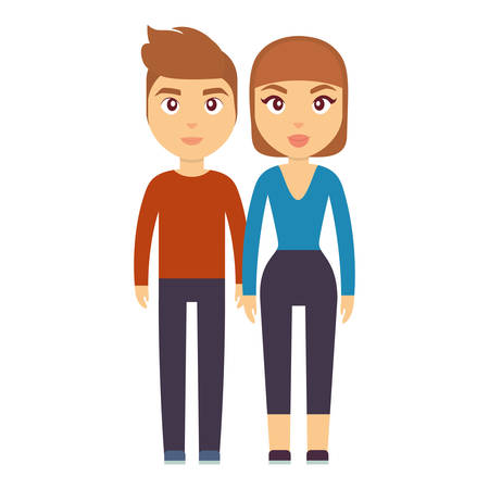 cartoon couple of man and woman icon over white background colorful design vector illustration