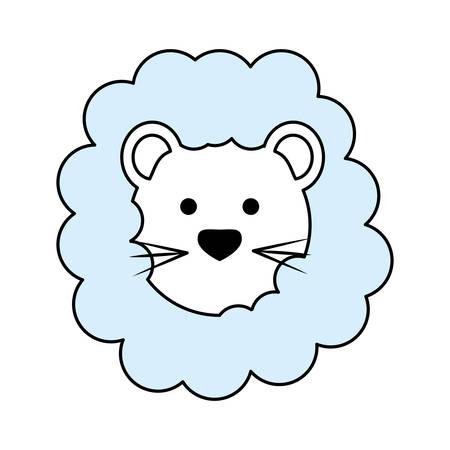Cute lion cartoon over white background graphic design