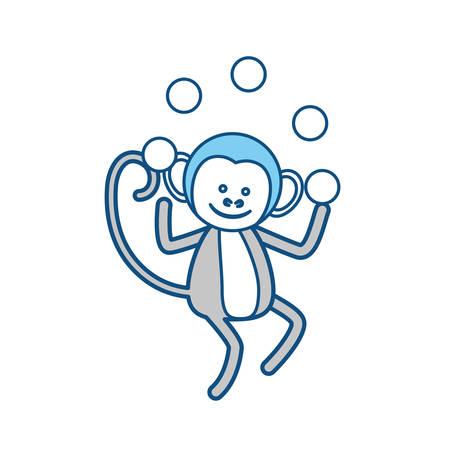 Circus monley cartoon icon vector illustration graphic design