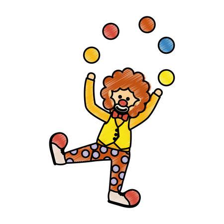 Circus clown cartoon icon vector illustration graphic design