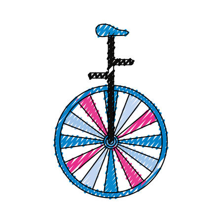 Circus unicycle wheel over white background graphic design Illustration
