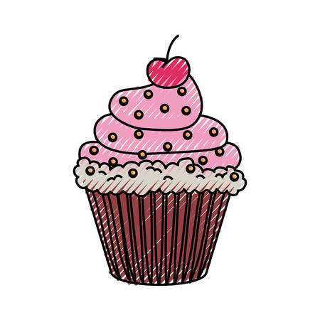 Sweet cupcake dessert icon vector illustration graphic design