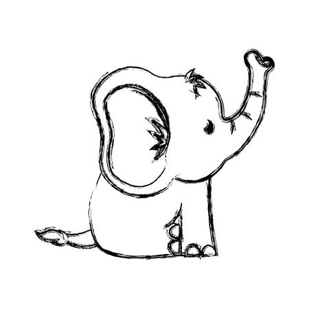 Cute elephant cartoon icon vector illustration graphic design 向量圖像