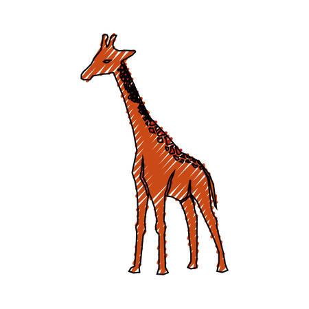 Progettazione grafica dell'illustrazione animale di vettore dell'icona del fumetto della giraffa Archivio Fotografico - 83370646