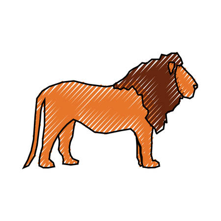 Lion cartoon animal icon vector illustration graphic design