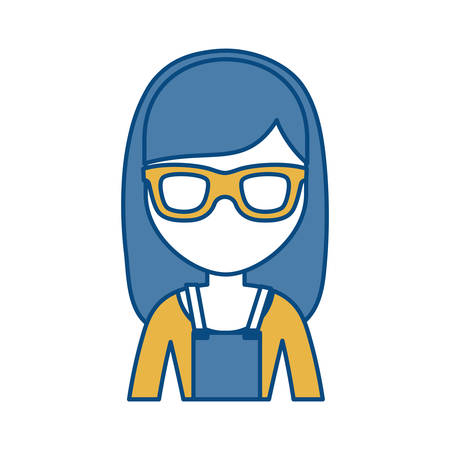 Woman with glasses icon over white background colorful design vector illustration Illustration