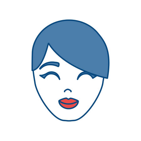 cartoon Woman face icon over white background colorful design vector illustration