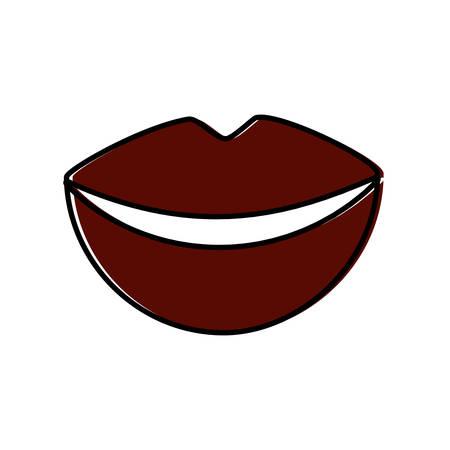 female lips icon over white background vector illustration