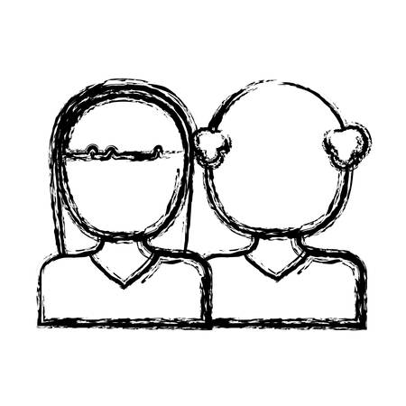 avatar couple of woman and man icon over white background vector illustration