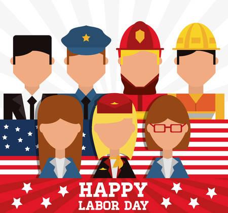 worker celebrating happy labor day vector illustration