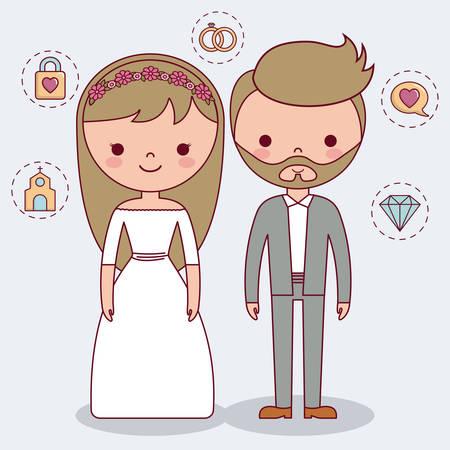 Lovely couple wedding. Illustration