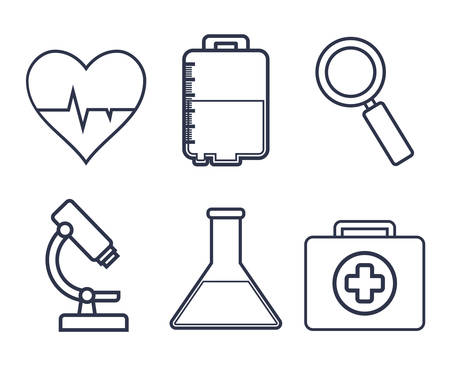 medical equipment related icons over white background colorful design vector illustration