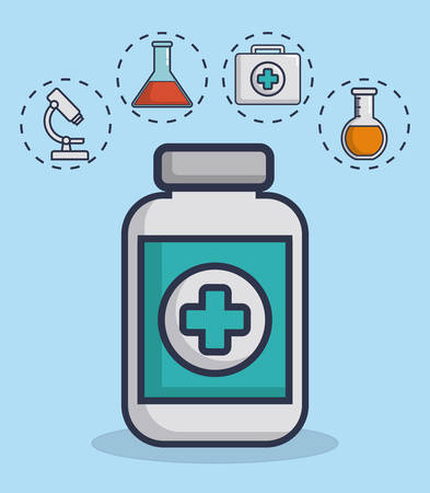 medicine bottle with medical equipment related icons over background colorful design vector illustration