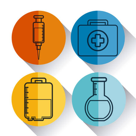 medical equipment related icons over colorful circles and white background vector illustration