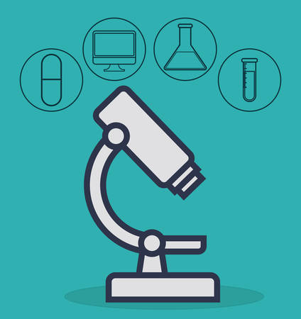 microscope with medical equipment related icons over blue background colorful design vector illustration Illustration