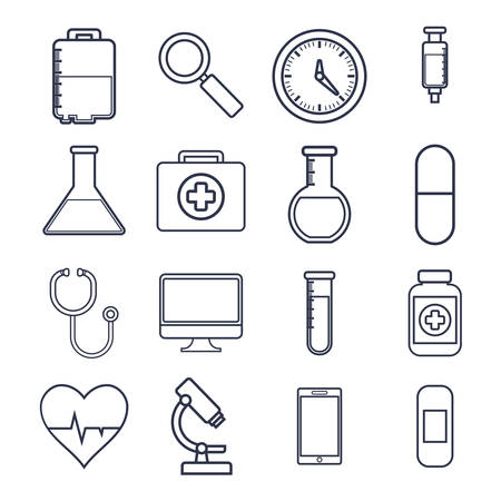 medical equipment related icons over background colorful design vector illustration