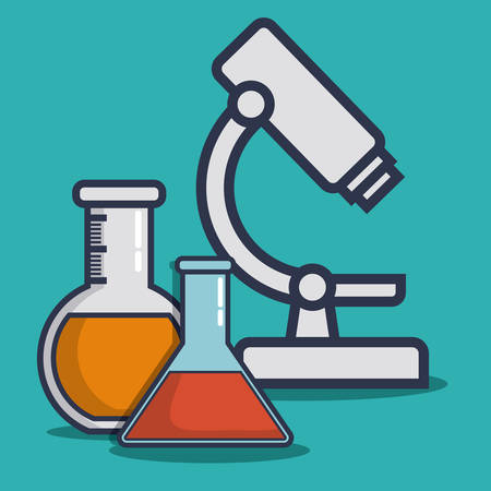 microscope and medical equipment related icons over blue background colorful design vector illustration