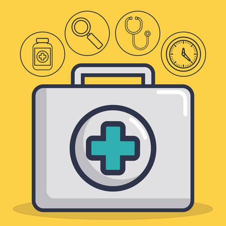 first aid box with medical equipment related icons over background colorful design vector illustration