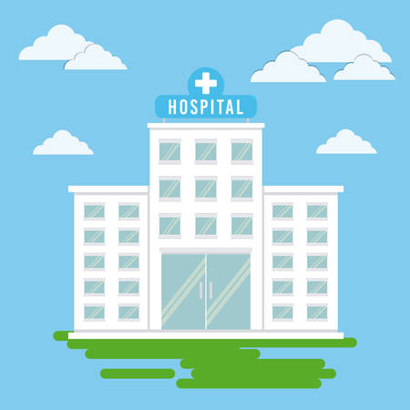 hospital building icon over landscape background colorful design vector illustration