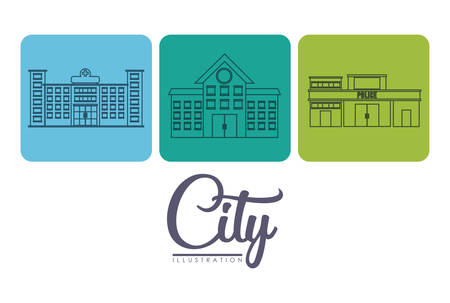 metropolitan: city buildings icons over colorful squares and white background vector illustration