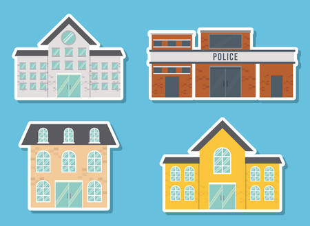 city buildings icons over blue background vector illustration Illustration