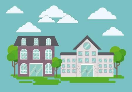 modern houses icon over landscape background colorful design vector illustration