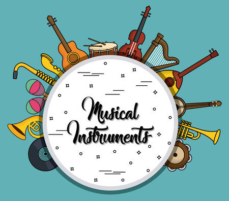 musical instruments in circle shape over blue background colorful design vector illustration