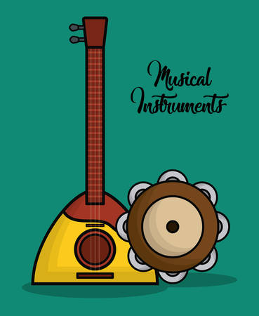 banjo and tambourine instrument icon over blue background colorful design vector illustration
