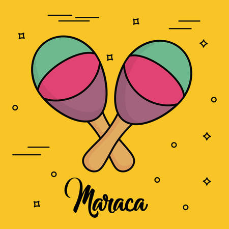 maracas instrument icon over yellow background colorful design vector illustration