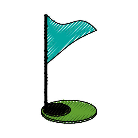 hole: Golf flag and hole icon vector illustration graphic design