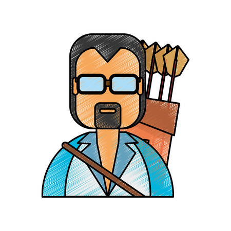 Man with bow arrows icon vector illustration graphic design Illustration
