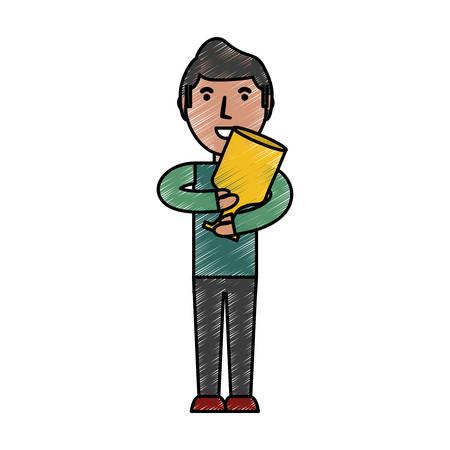弓矢印アイコン ベクトル イラスト グラフィック デザインを持つ男