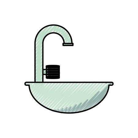 modern bathroom: Bath symbol isolated over white background vector illustration