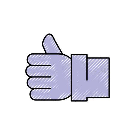validation: Like thumb up symbol over white background vector illustration