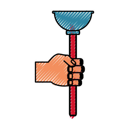 connectors: Toilet pump tool over white background vector illustration