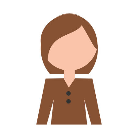 Woman profile cartoon over white background vector illustration