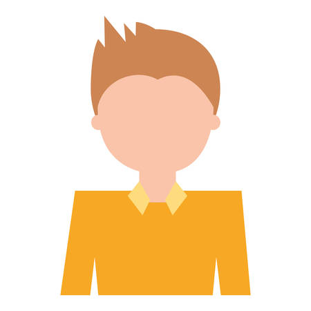 Man cartoon profile over white background vector illustration
