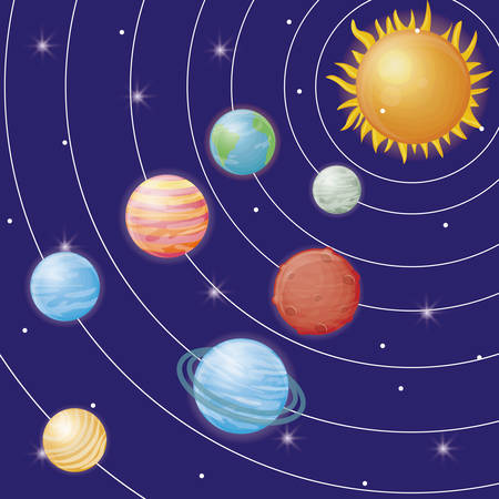 solar system with orbits of planets icons over galaxy background colorful design vector illustration