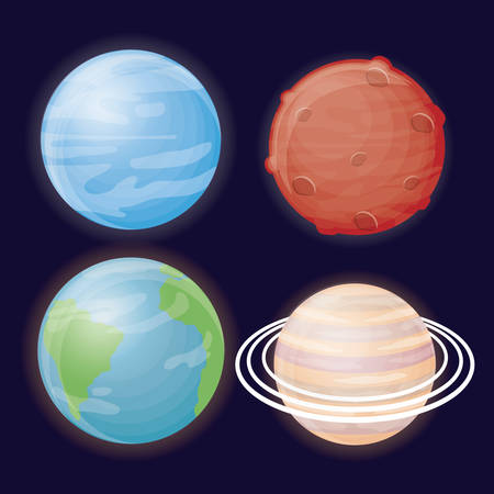 planets icons over blue background colorful design vector illustration