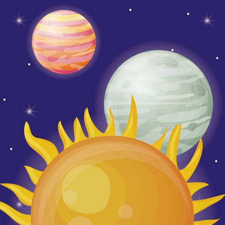 system solar planets and sun over blue background colorful design vector illustration