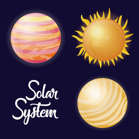 planets and sun icon over blue background colorful design vector illustration