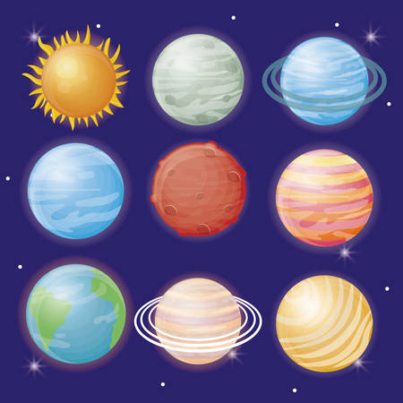 planets sun and moon of system solar icon over blue background colorful design vector illustration