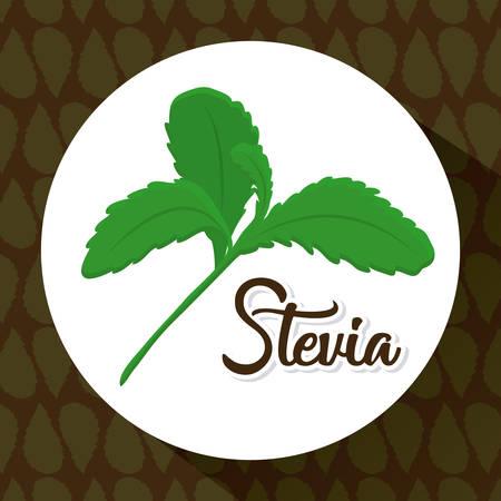 stevia plant icon over white circle and black background colorful design vector illustration Illustration