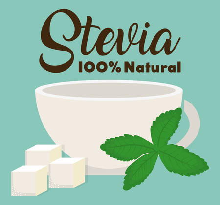 cup and stevia plant icon over blue background colorful design vector illustration