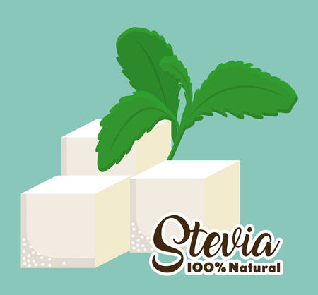 stevia cubes and plant icon over blue background colorful design vector illustration